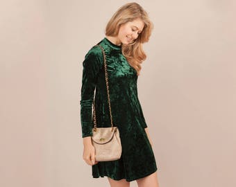 Crushed Velvet Dress   S-L   Women's Clothing, Long Sleeve, Occasion, Party, Event, Fancy, Keyhole Back, High Neck