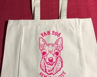 Moe tote/chihuahua tote/classic chi tote/fab208nyc/fab208/pink chihuahua print tote