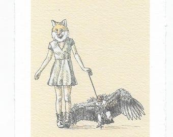 "Art Print / Fox Lady and Vulture / ""Vulture Venture"""