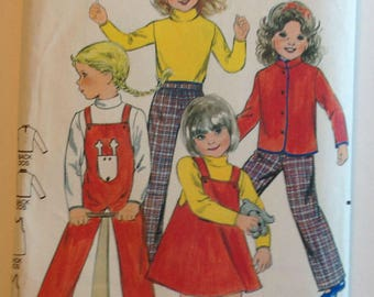 Butterick 3370 Childrens Jacket Jumper Overalls Top and Pants Size 3 & 6 Vintage 1980's