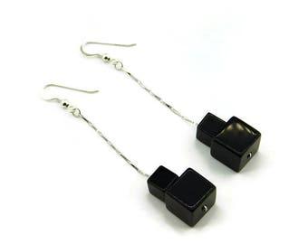Onyx cube earrings, Beaded earrings, Cube earrings, Scaled cube earrings, Dangle cube earrings, Drop cube earrings, Chain earrings