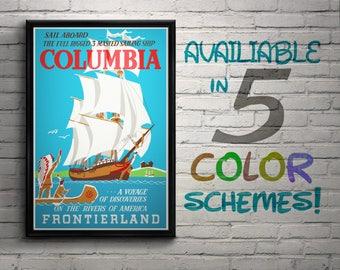 Vintage Disneyland Columbia Attraction Poster, Disney, Frontierland, Sailing Ship, Nursery, Kids Bedroom, Retro, Travel Poster, Wall Art