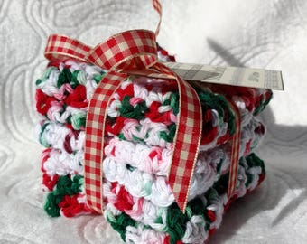 Christmas Crochet Cotton Dishcloth gift set of 3