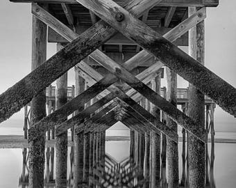 Photograph Black and White: Pier Reflections 8x12