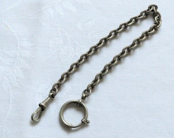 Vintage white metal pocket watch fob chain with spring ring