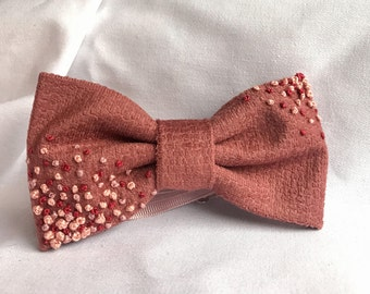 Women's bow tie / Embroidered bow tie / Corduroy pink bow tie with embroidered flowers / Valentine's day gift / Gift for her
