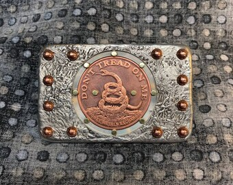 Hand Cast Belt Buckle of Solid Pewter with Copper Rivets & 1 oz fine Copper Coin