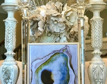 Oyster, Frame Mixed Media Print Under Resin