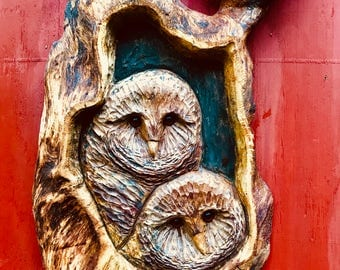 Two Owls in an oak, wall hanging for owl lovers home, cabin or porch