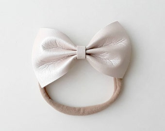 Pearl Faux Leather Bow (Headband)