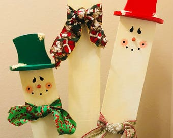 Handpainted Fence Picket Snowman Trio