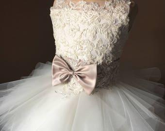 BETTANY Ivory Lace Tulle Champagne sash Flower Girl Dress Vintage Dress Wedding Bridesmaid Dress