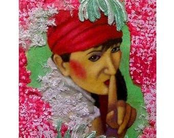 THE SECRET Illustration, textil Art, Painting, Contemporany Art, Fine Art, Mix Media, Collage