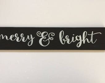 "Merry & Bright - 3"" Christmas Wood Sign"