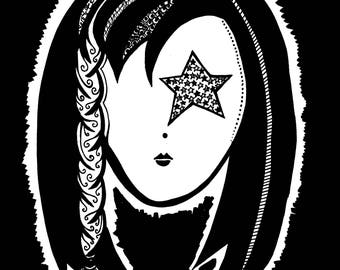 "Black & White ""Geo Alien Chick"""