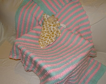 Mint Green and Pink Striped Hand Knit Baby Blanket