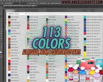 Angelus Leather Paint Adobe Photoshop 113 color swatch for Custom Nike / Jordan Vectorized Sneaker template mockups & proofs before painting