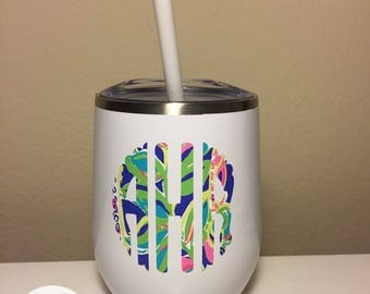 Personalized Wine Tumbler With Straw - Metal {Birthday Gift For Her, Bridesmaid Gift} Swig Inspired Tumbler