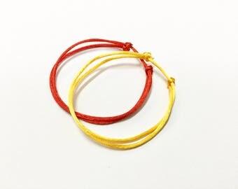 Red String Bracelet. Yellow Silk Bracelet. Set of 2. Adjustable. Dainty. Evil Eye. Kabbalah. Hamsa. Good Luck. Protection. Gift. Love Token.
