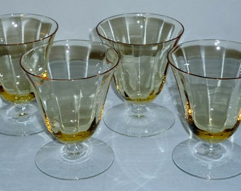 """4 Fostoria Fairfax OYSTER Cocktail GOBLETS Topaz Yellow glasses optic crystal #5099 3-1/2"""" Excellent"""