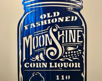 Moonshine Mason Jar Metal Art