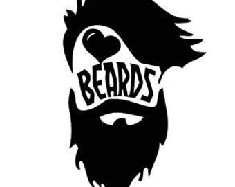 Heart Beard Love decal sticker Laptop Car Truck woods bearded villain man hair respect elder mustache ride label growth natural