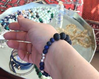 Natural gem and silver bead bracelet