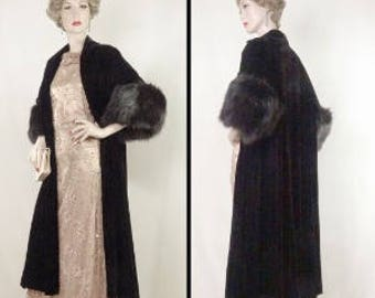 1950s Opera Coat Black Velvet Fox Cuffs Bullock's Wilshire One Size #1377