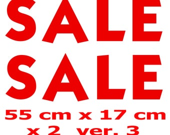 2x SALE Shop Window Retail Sign High Quality Vinyl Stickers Decals 55 cm x 17 cm