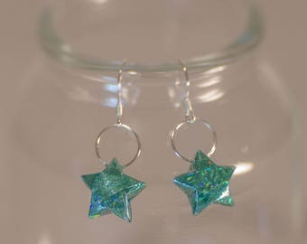 Green holographic Surf ⋆ Origami earrings