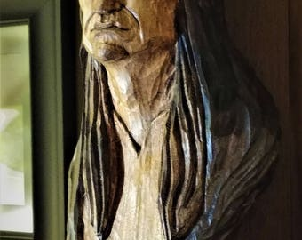 Hand carved American Indian bust
