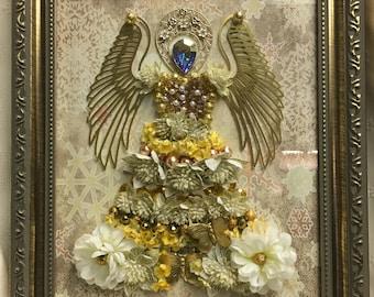 Framed Gold Jewel Angel