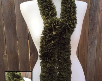 Green ruffle scarf with beads