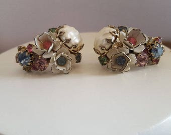 Antique late 1930s Sparkle Shine With These Dazzling Rhinestone in White Enamel Setting