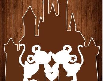 Disney Castle Mickey Minnie Papercutting Template