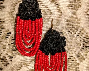Red beaded earrings with crochet work
