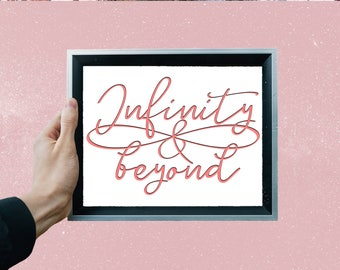 digitale Grafik Datei PNG und PDF zum Downloaden - Infinity & beyond Unendlichkeitssymbol rosa, Freundschaftszeichen kommerzielle Nutzung