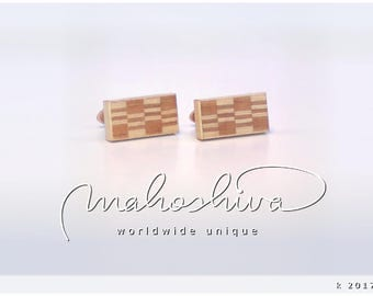wooden cuff links wood cherry maple handmade unique exclusive limited jewelry - mahoshiva k 2017-51