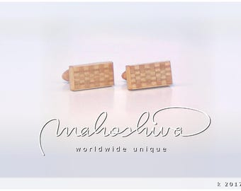 wooden cuff links wood alder maple handmade unique exclusive limited jewelry - mahoshiva k 2017-63