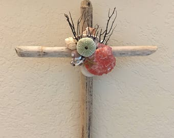 Driftwood Cross Seashell