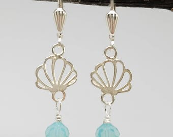 Pacific Blue Opal Swarovski crystals and Sterling Silver Sea Shell .925 Sterling Silver Shell Beach Wedding dangle drop Lever Back Earrings