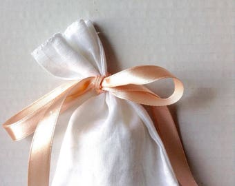 100 white linen bags peach pink ribbon string pouches in natural white linen set of 100 linen purses mini bags weddings events