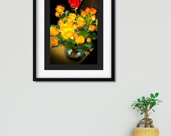 "Romantic floral still life ""Red Among Yellow Roses"" by Malinee Ganahl. Fine Art Lustre Print. Bright floral arrangement on dark background."