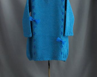 warm blue girl's dress| wool blend| with ribbons