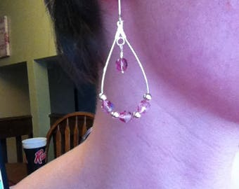Pink Crystal and Silver Drop Earrings
