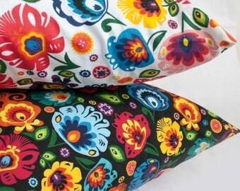 Polish Folk Art Pillowcase/ Folk pillowcase  from Poland/ 100% handmade- Free Shipping Worldwide