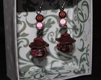 Pink and Brown mushroom Fairy House earrings