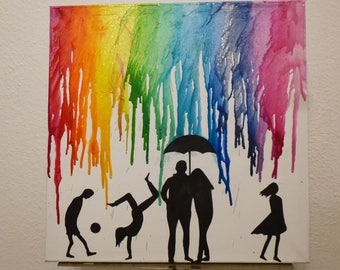Melted Crayon art Family