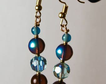 Purple Glass, Blue Glass, and Blue Swarovski Crystal Drop Earrings
