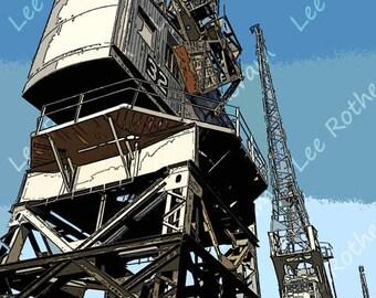 Cranes at Bristol Harbourside Digital Art Print